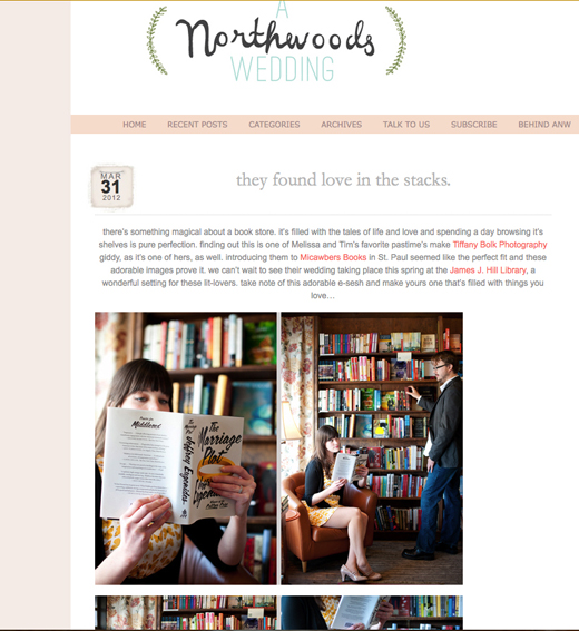 St. Paul Engagement photography, Micawbers book store, A Northwoods Wedding blog, Tiffany Bolk Photography